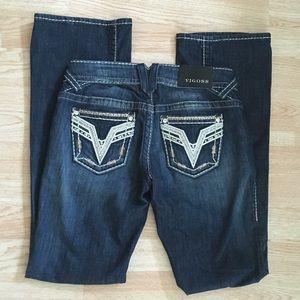 Vigoss Chelsea Bootcut Bling Dark Wash Jeans